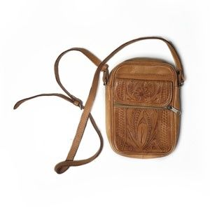 Vintage Tooled Leather Tan Crossbody Bag